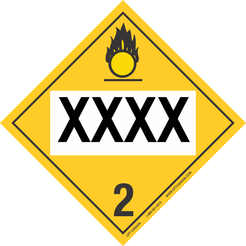 Class 22 51 Tdg Placard Canada Preprinted Oxidizing Gases