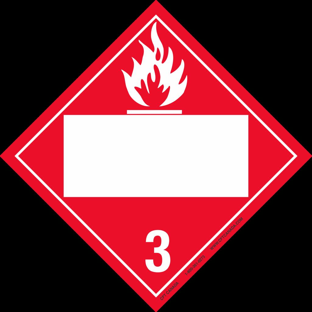 Plaque classe 3 TMD internationale avec boîte ONU vide : Liquides inflammables