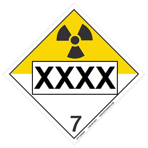 Plaque classe 7 TMD internationale pré-imprimée : Matières radioactives