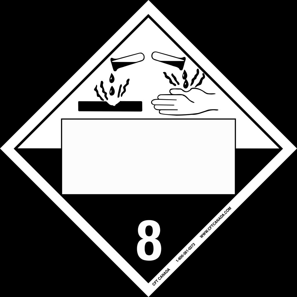 Plaque classe 8 TMD internationale avec boîte ONU vide : Matières corrosives
