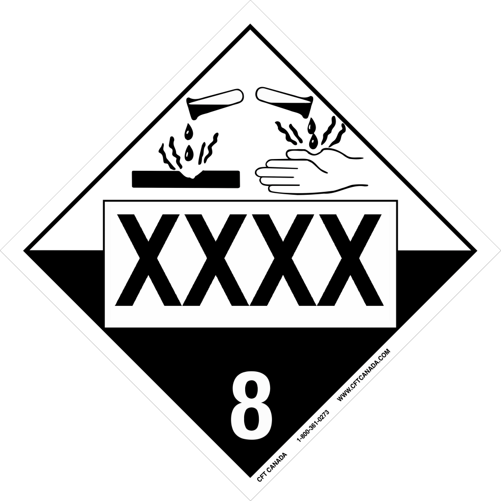 Plaque classe 8 TMD internationale pré-imprimée : Matières corrosives