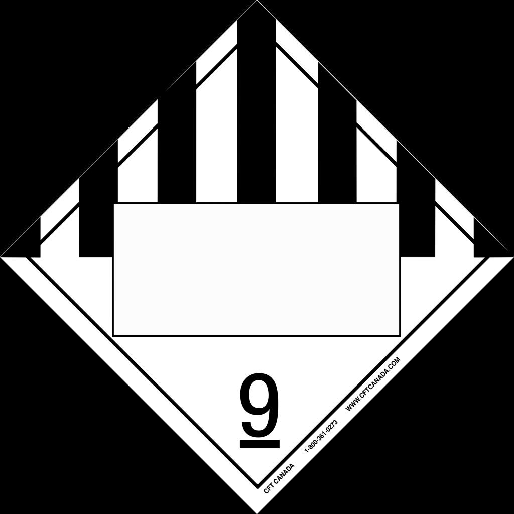 Plaque classe 9 TMD internationale avec boîte ONU vide : Produits, matières ou organismes divers