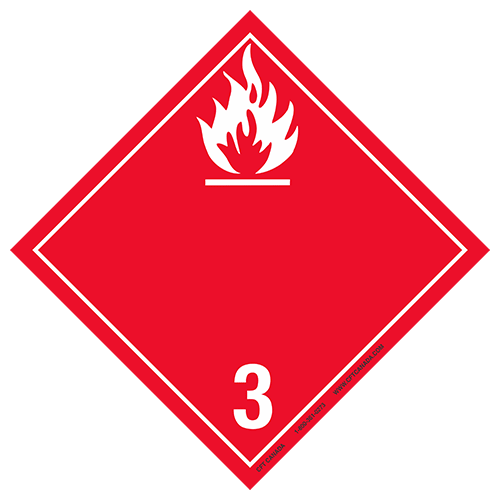 Plaque classe 3 TMD internationale : Liquides inflammables