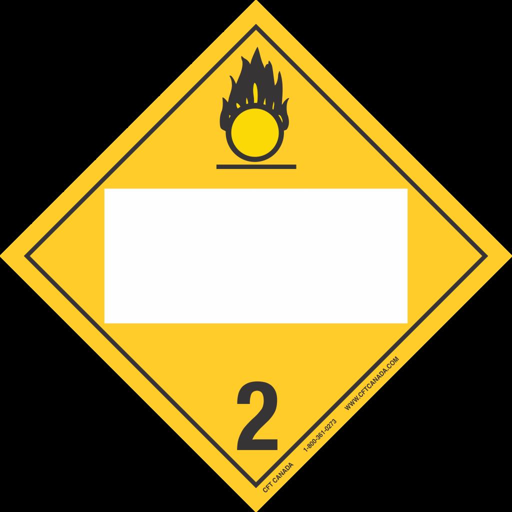 Plaque classe 2.2 (5.1) Gaz comburants TMD Canada avec boîte ONU vide