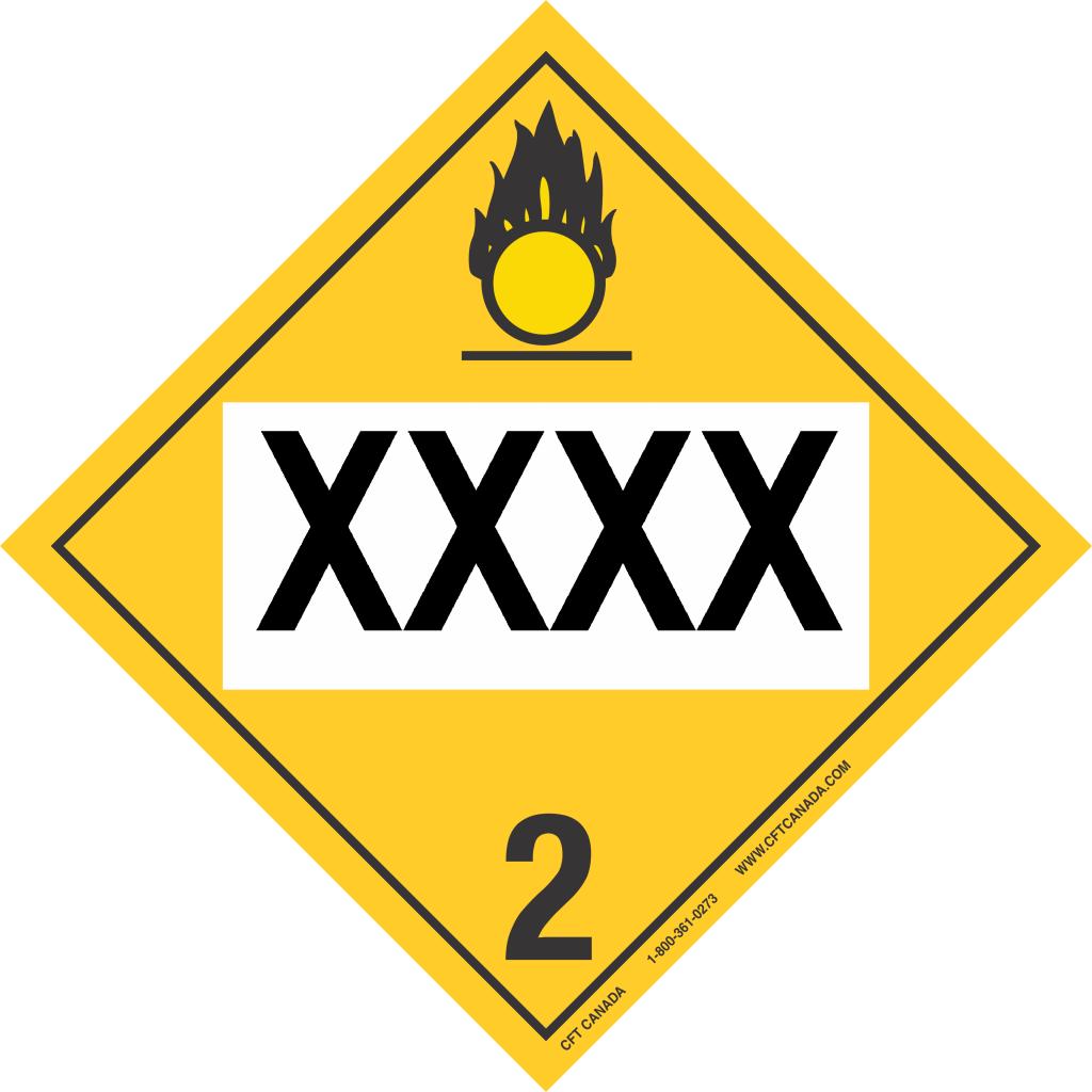 Plaque classe 2.2 (5.1) Gaz comburants TMD Canada pré-imprimée