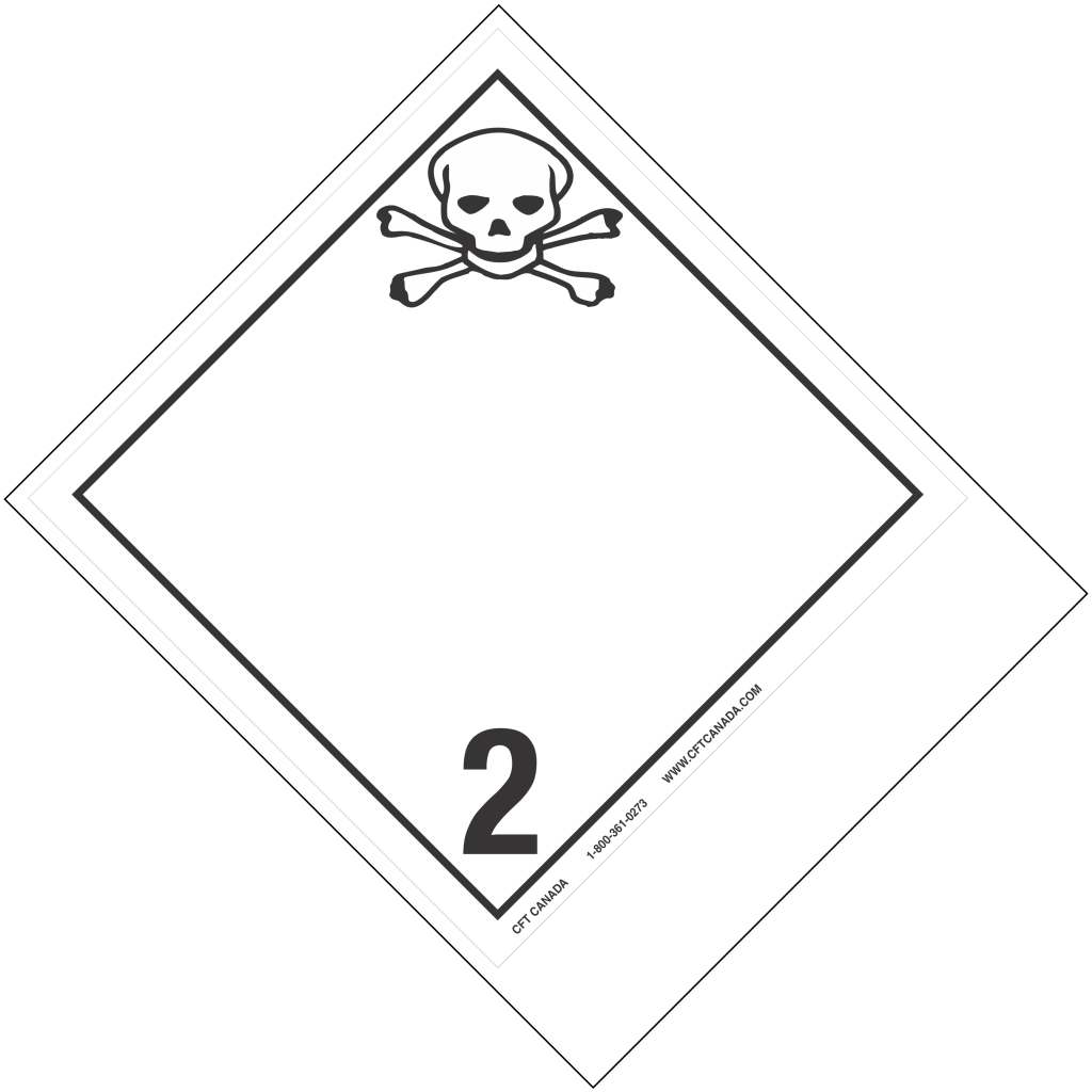 Class 2.3 International TDG Labels with blank tab for proper shipping name – Toxic Gases