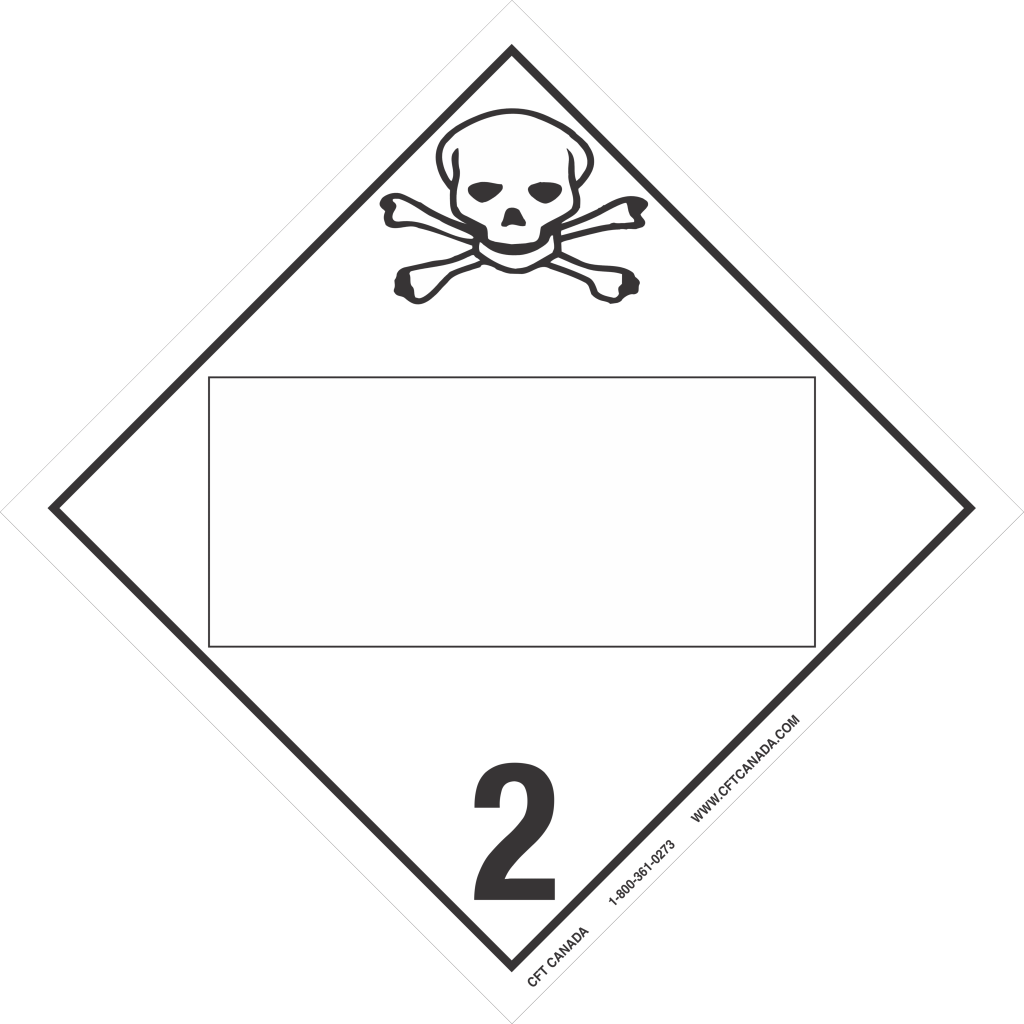 Class 2.3 International TDG placard with blank UN box : Toxic Gases