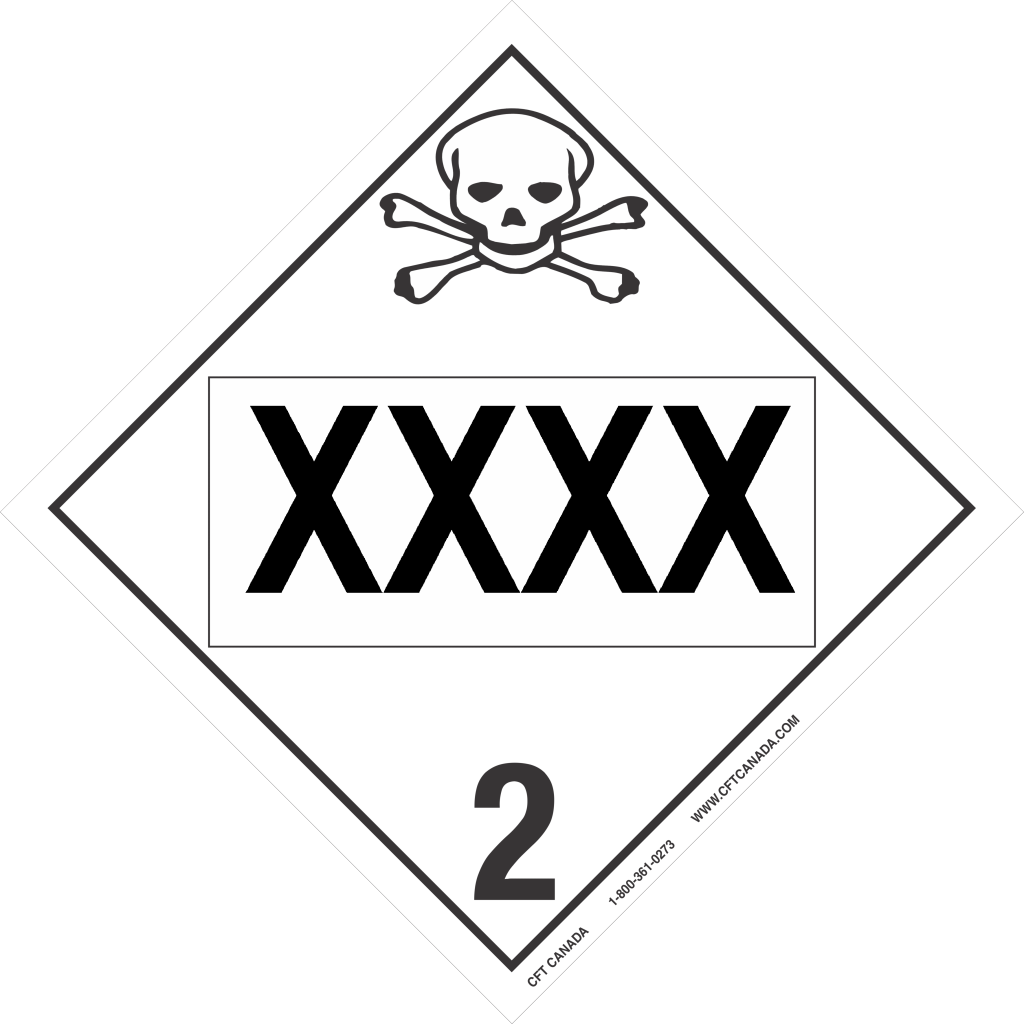 Class 2.3 International TDG placard preprinted with UN number : Toxic Gases