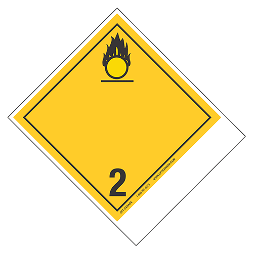 Class 2.2 (5.1) TDG labels – Canada – with blank tab for proper shipping name : Oxidizing Gases