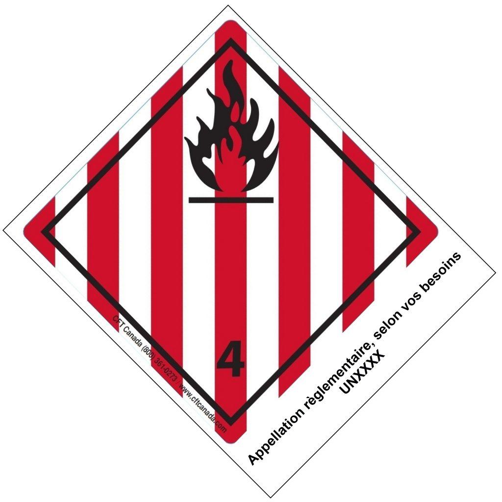 Étiquettes classe 4.1 TMD internationales avec appellation pré-imprimée : Solides inflammables