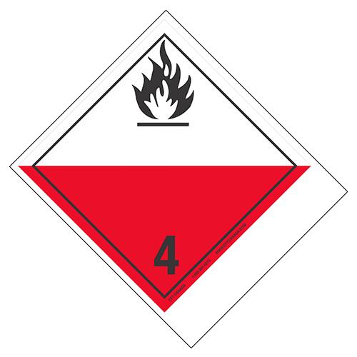 Étiquettes classe 4.2 TMD internationales avec espace pour appellation vide : Matières sujettes à l'inflammation spontanée