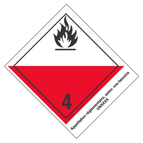 Étiquettes classe 4.2 TMD internationales avec appellation pré-imprimée : Matières sujettes à l'inflammation spontanée
