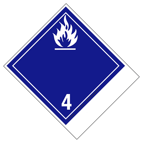 Class 4.3 International TDG Labels with blank tab for proper shipping name – Water-reactive Substances