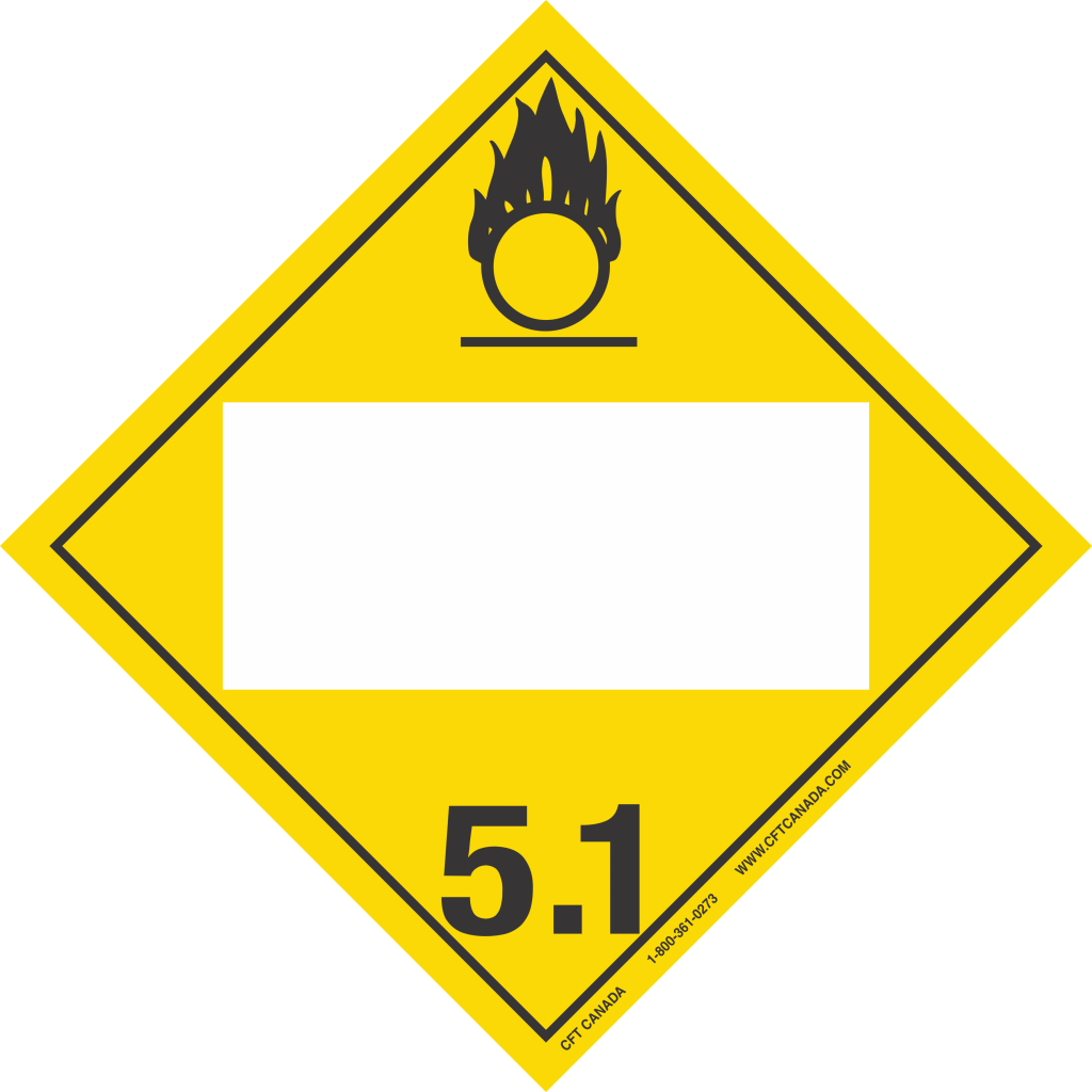 Plaque classe 5.1 TMD internationale avec boîte ONU vide : Matières comburantes