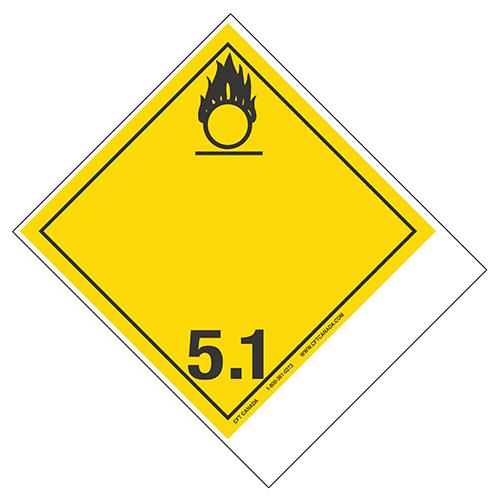 Étiquettes classe 5.1 TMD internationales avec espace pour appellation vide : Matières comburantes