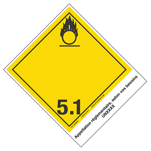 Étiquettes classe 5.1 TMD internationales avec appellation pré-imprimée : Matières comburantes