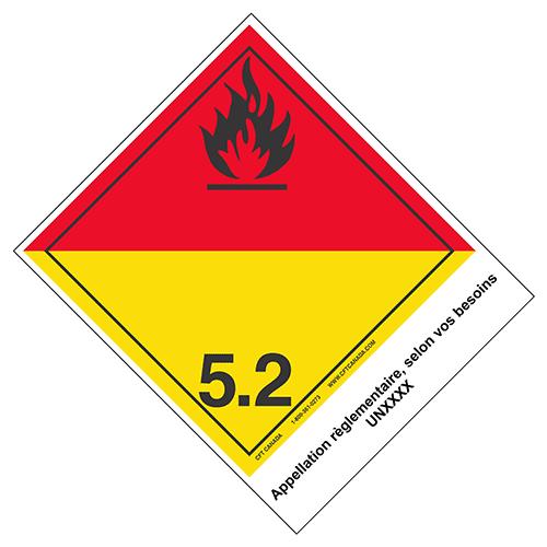 Étiquettes classe 5.2 TMD internationales avec appellation pré-imprimée : Peroxydes organiques