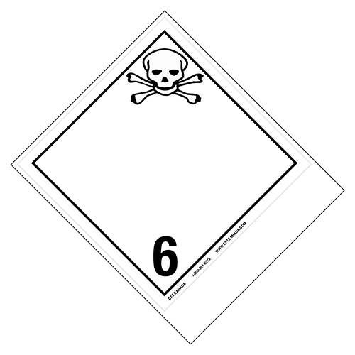 Class 6.1 International TDG Labels with blank tab for proper shipping name – Toxic Substances