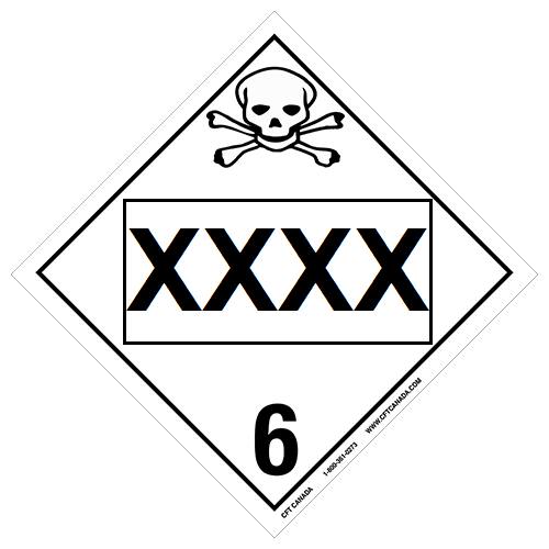 Class 6.1 International TDG placard preprinted with UN number : Toxic Substances