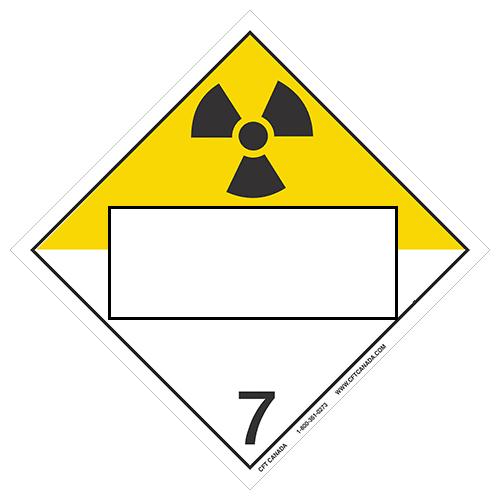 Plaque classe 7 TMD internationale avec boîte ONU vide : Matières radioactives