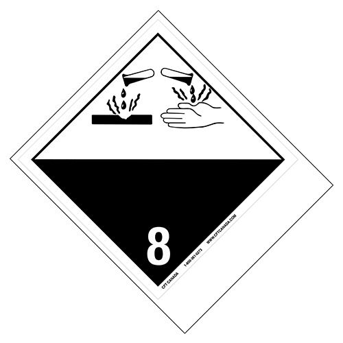 Étiquettes classe 8 TMD internationales avec espace pour appellation vide : Matières corrosives