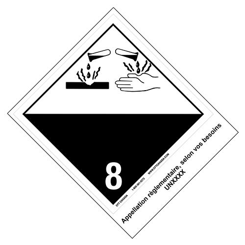 Étiquettes classe 8 TMD internationales avec appellation pré-imprimée : Matières corrosives
