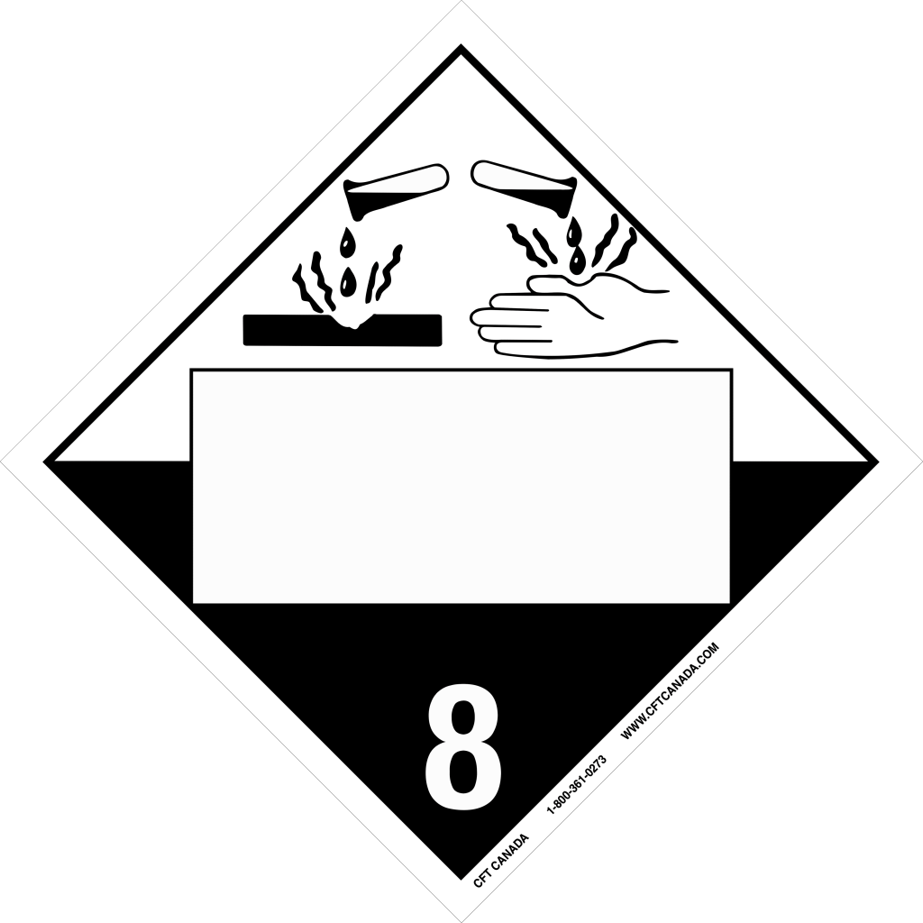 Class 8 TDG International Placard with blank UN box : Corrosive