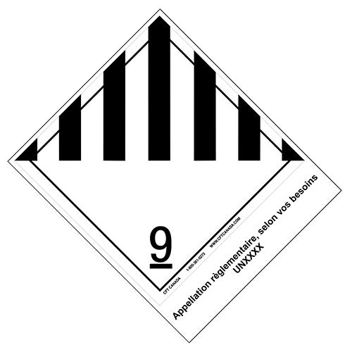 Étiquettes classe 9 TMD internationales avec appellation pré-imprimée : Produits, matières ou organismes divers