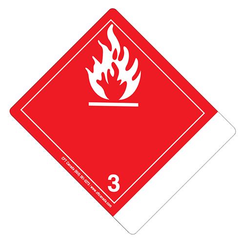 Étiquettes classe 3 TMD internationales avec espace pour appellation vide : Liquides inflammables