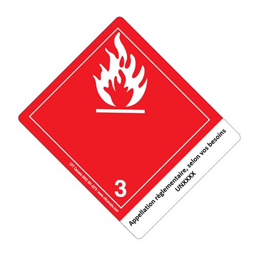 Étiquettes classe 3 TMD internationales avec appellation pré-imprimée : Liquides inflammables