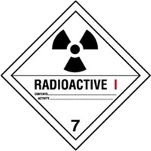 Étiquettes classe 7 Catégorie I TMD internationales : Matières radioactives – Risque faible