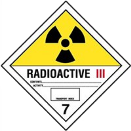 Étiquettes classe 7 Catégorie III TMD internationales : Matières radioactives – Risque élevé