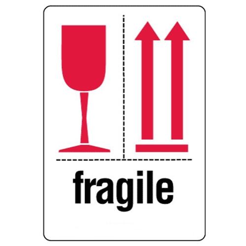 Étiquettes Fragile – coupe rouge et flèches rouges