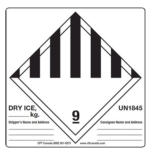 Étiquettes Glace sèche