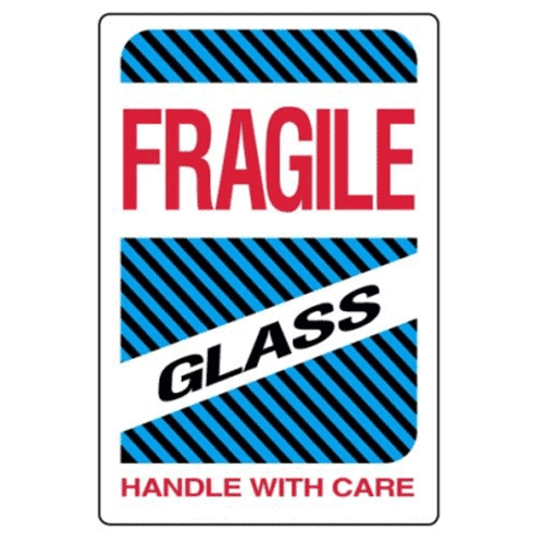 Étiquettes Fragile – glass – handle with care