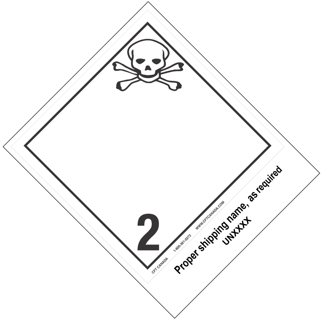 Class 2.3 International TDG Labels preprinted with proper shipping name – Toxic Gases