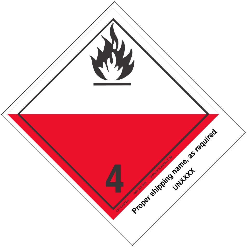 Class 4.2 International TDG Labels preprinted with proper shipping name – Substances liable to spontaneous combustion