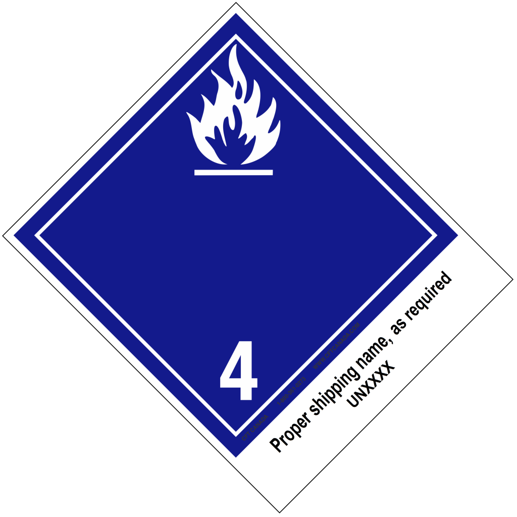 Class 4.3 International TDG Labels preprinted with proper shipping name – Water-reactive Substances