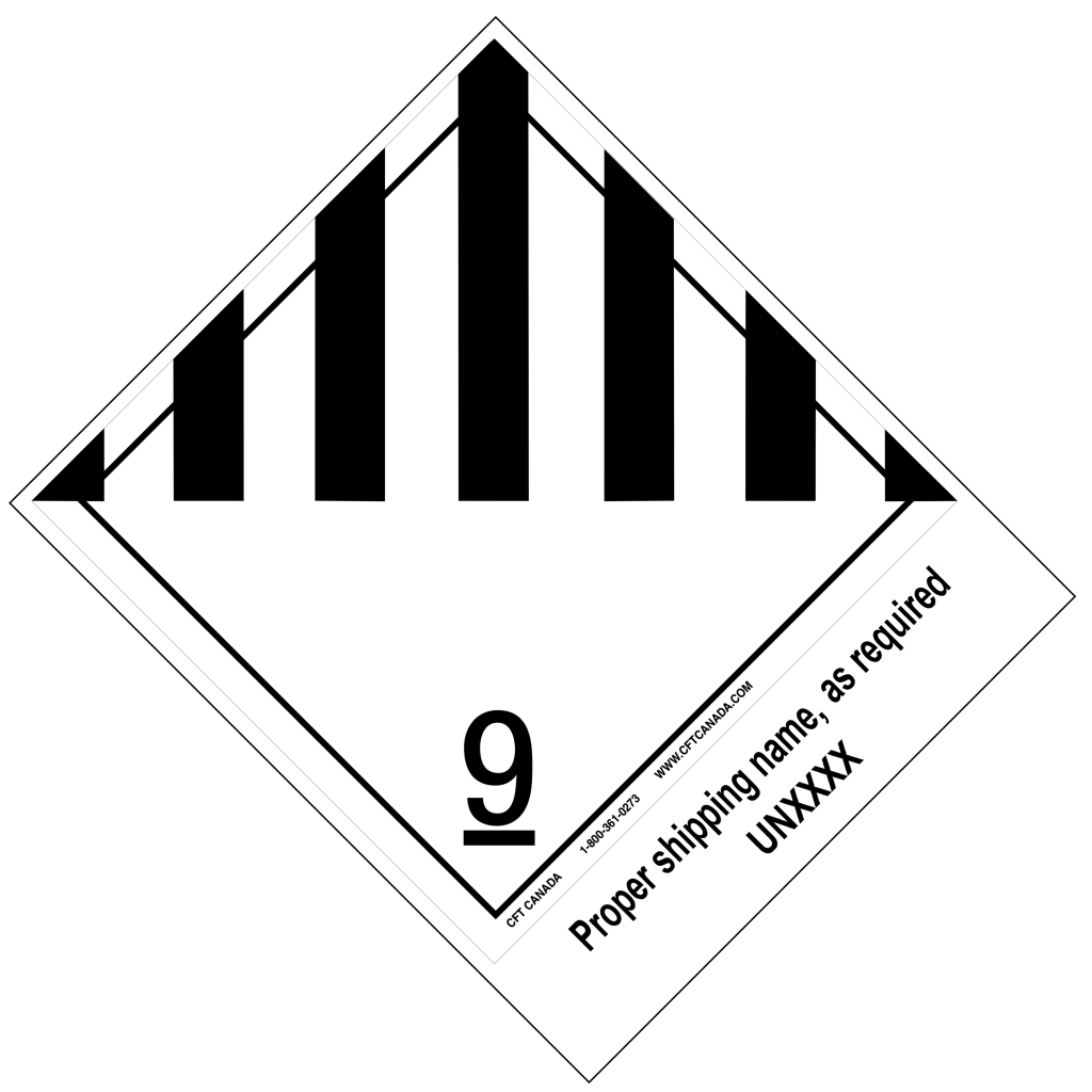 Class 9 International TDG Labels preprinted with proper shipping name – Miscellaneous Products, Substances or Organisms