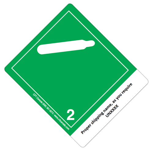 Class 2.2 International TDG Labels preprinted with proper shipping name – Non-Flammable and Non toxic Gases